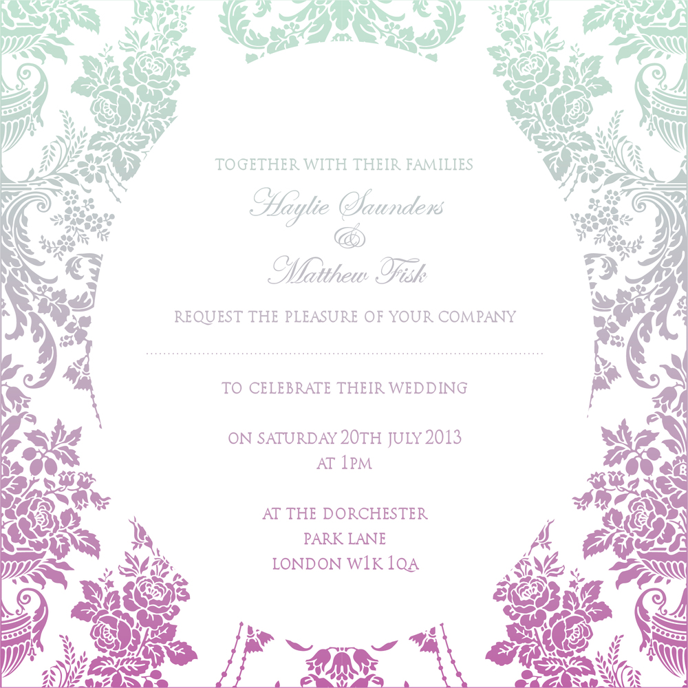 Ombre shaded wedding invitation