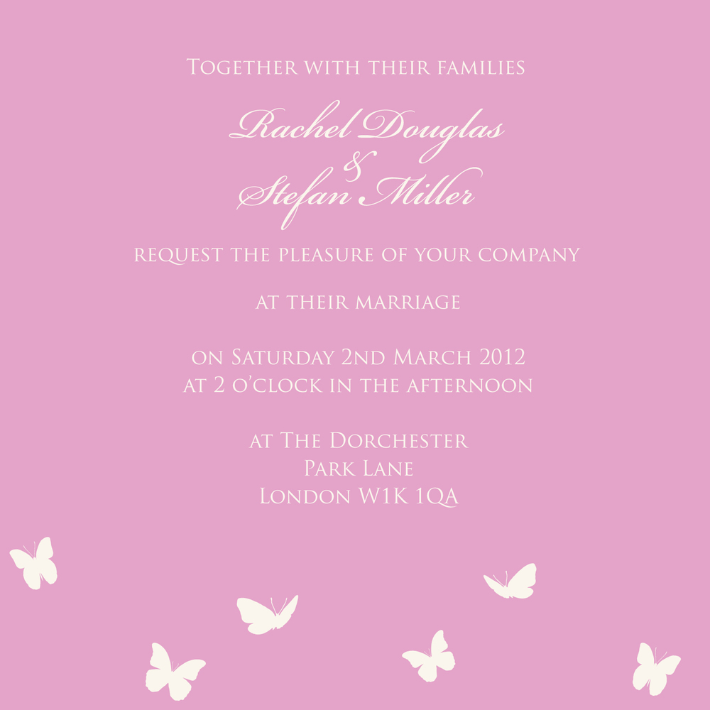Pink butterfly wedding invitation
