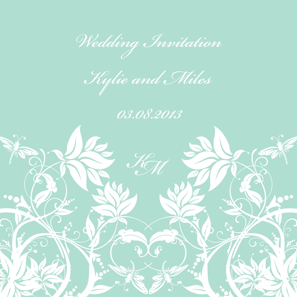 Mint Modern wedding invitation