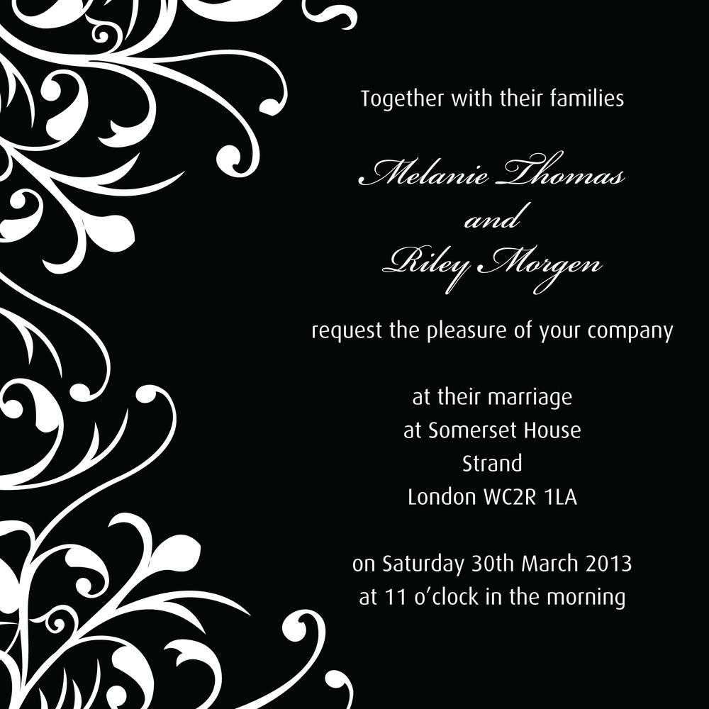 Classic monochrome wedding invitation