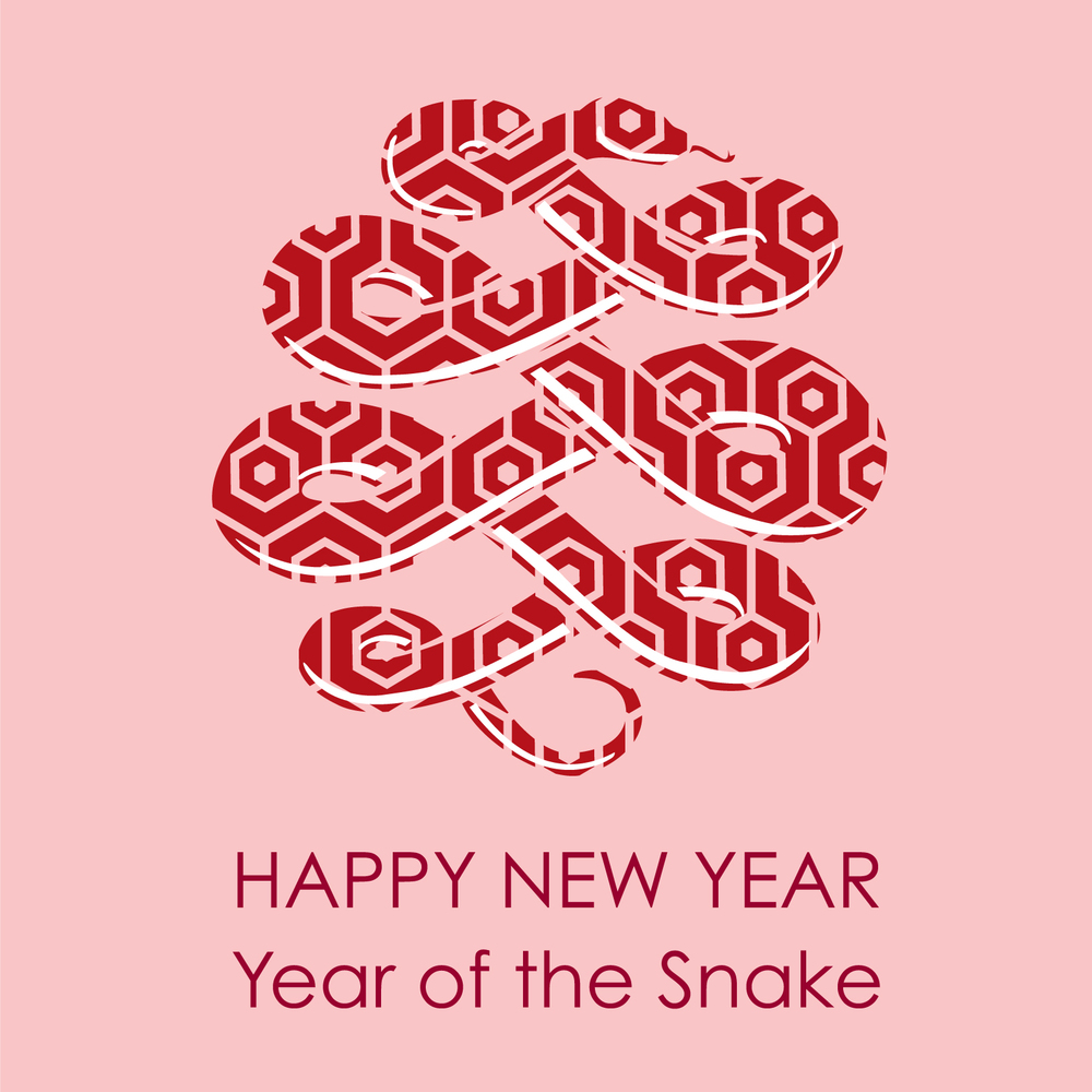 Red Chinese New Year card for 2013 Year of the Snake