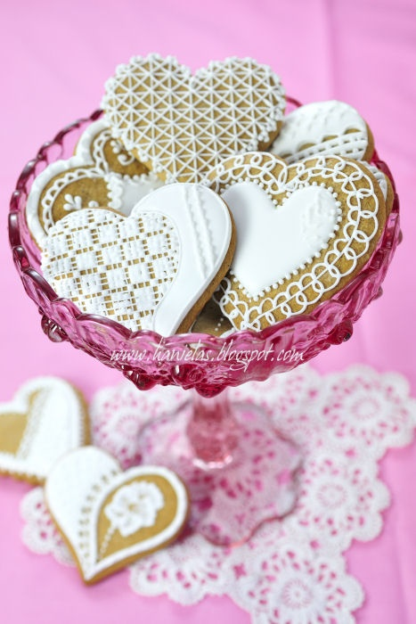 Heart honey cookies with lace decoration for Valentine's or Anniversaries or Weddings