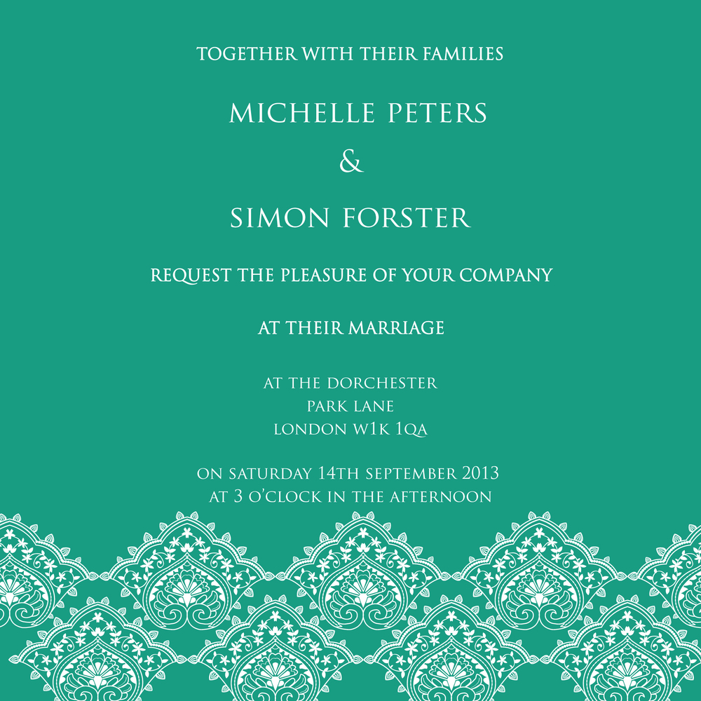 Green and white lace wedding invitation. Autumn winter 2013 trends by Ananyacards.com