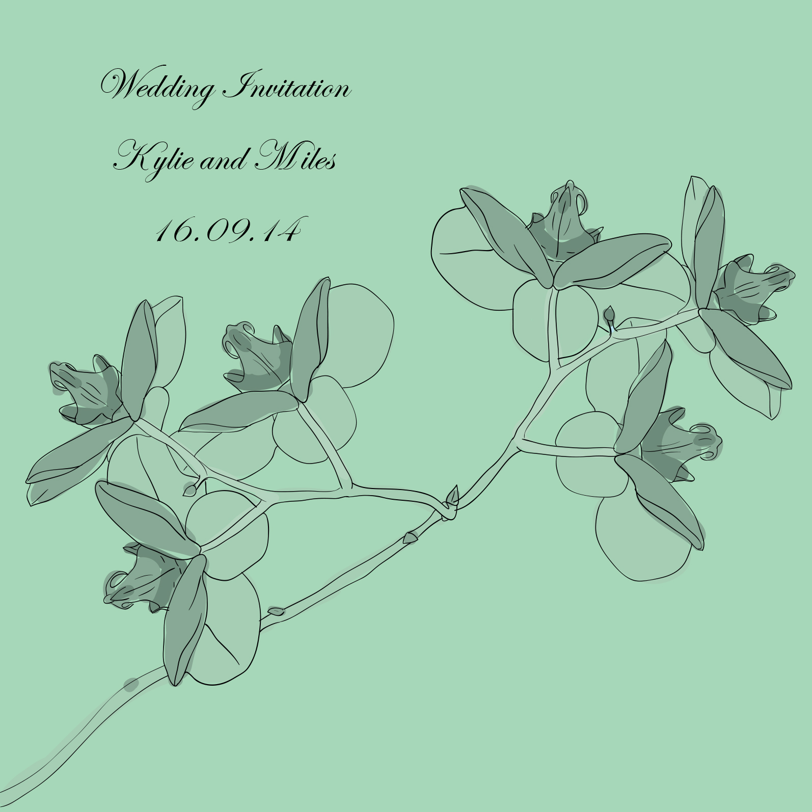 green wedding invitation