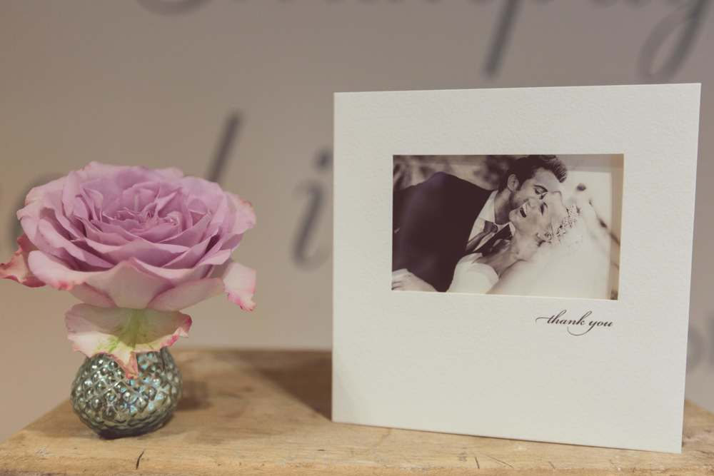 Photographic thank you card, wedding stationery