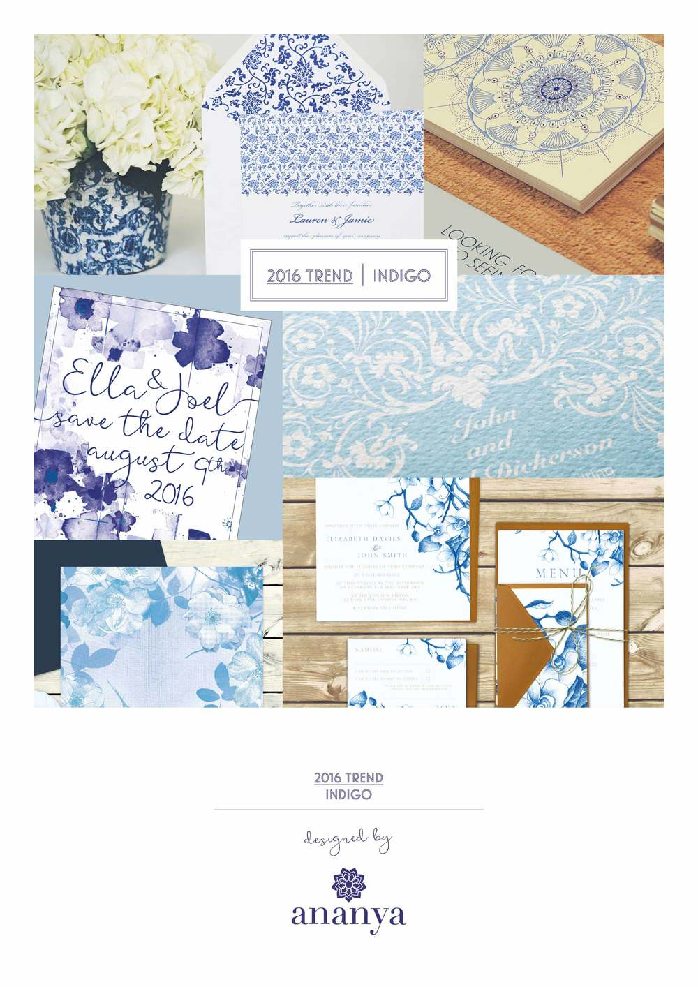 Beautiful Wedding Invitations using 2016 Indigo trend by Ananaya