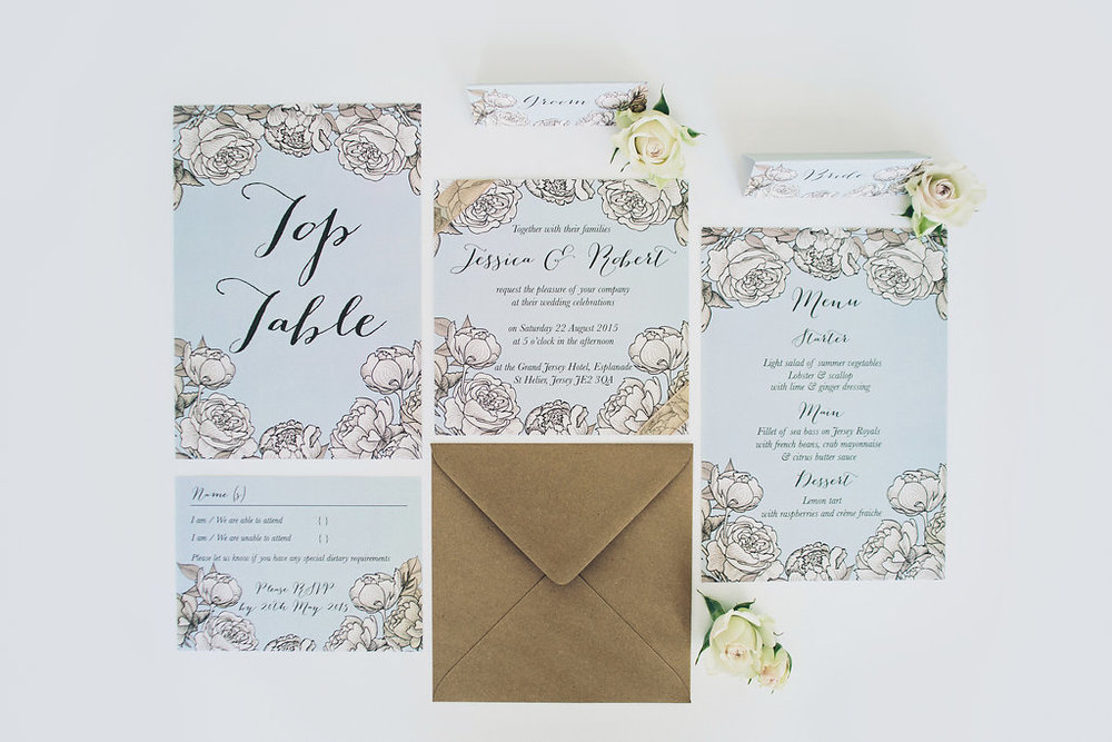 Suite of wedding stationery