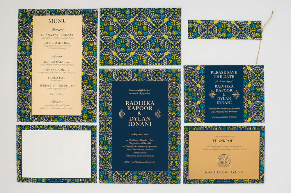 blue and gold mandala inspired wedding stationery