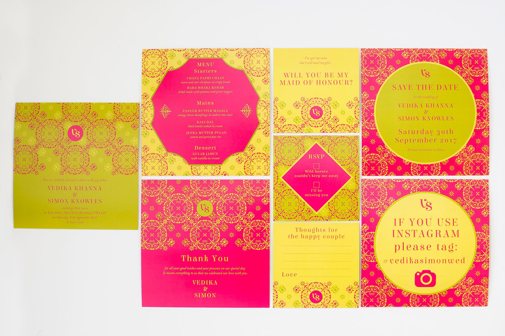 pink gold lime mandala inspired wedding stationery suite