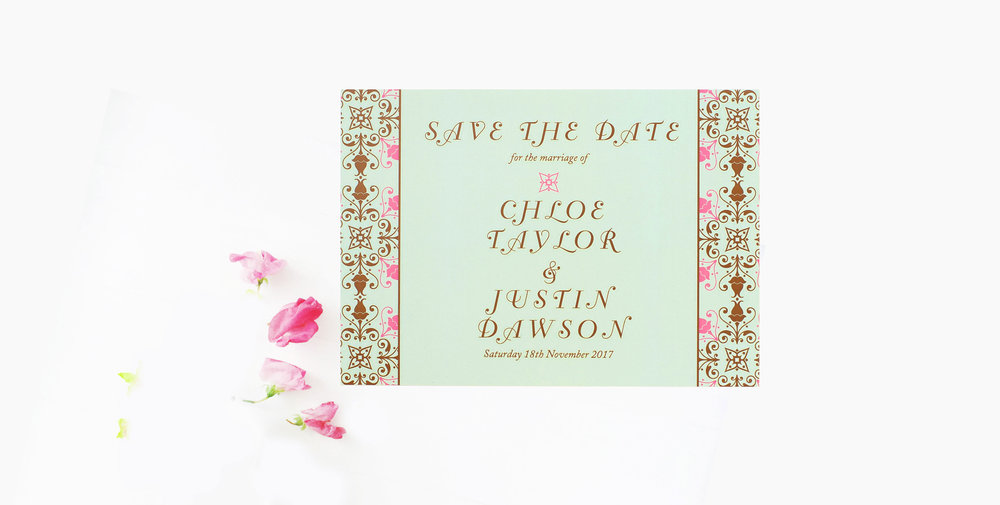mint green save the date mandala inspired wedding stationery