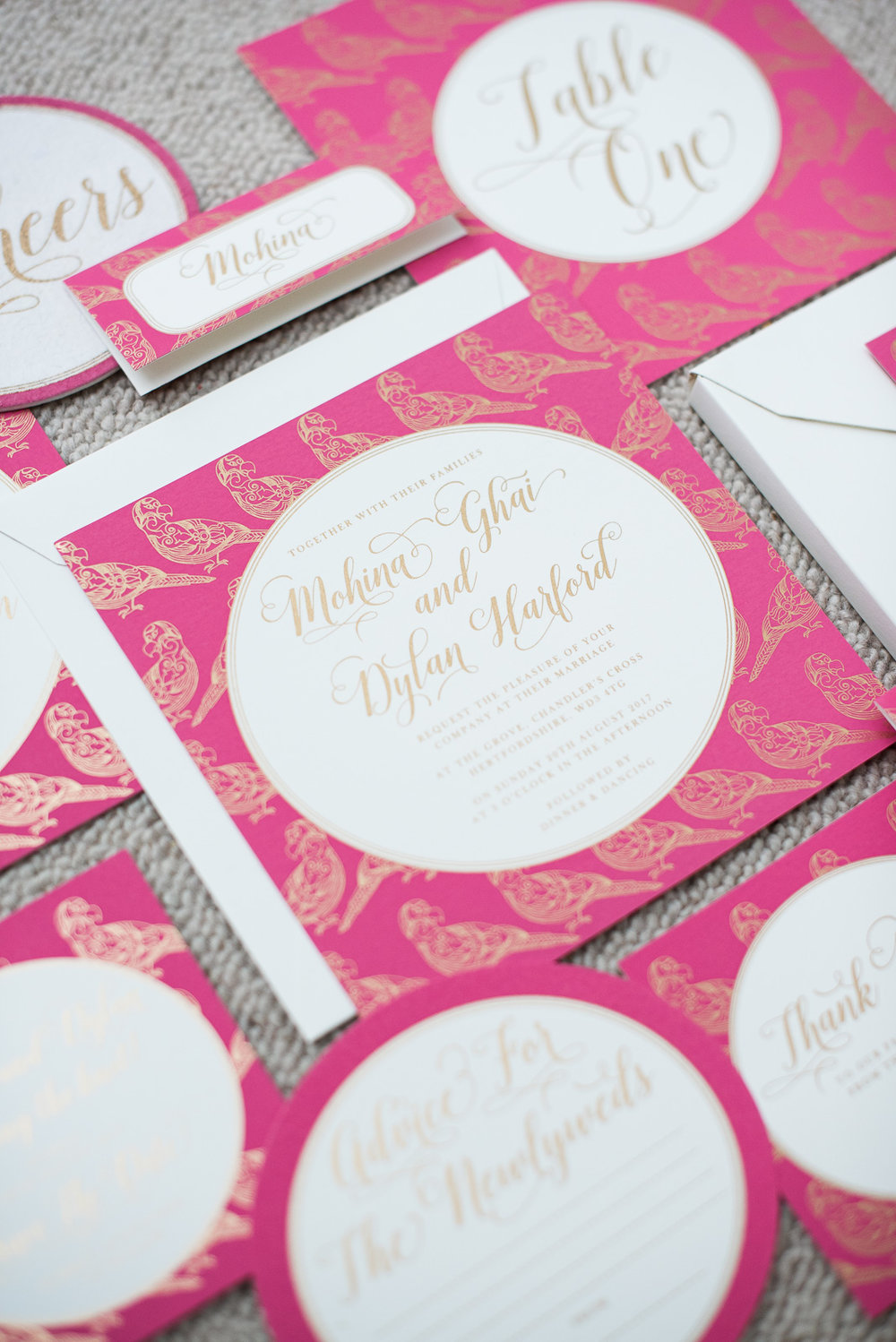 Ananya''s 'Trio of Life' bespoke screen printed wedding stationery: parrot  Photography by  Fiona Kelly Photography
