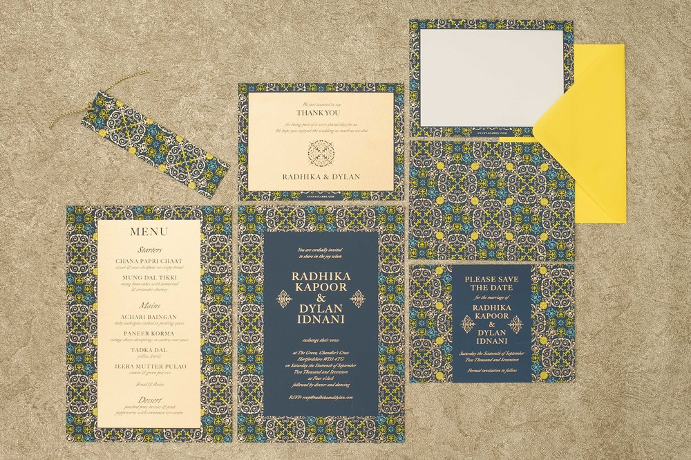 Ananya's 'Mandala Love' screen printed wedding stationery
