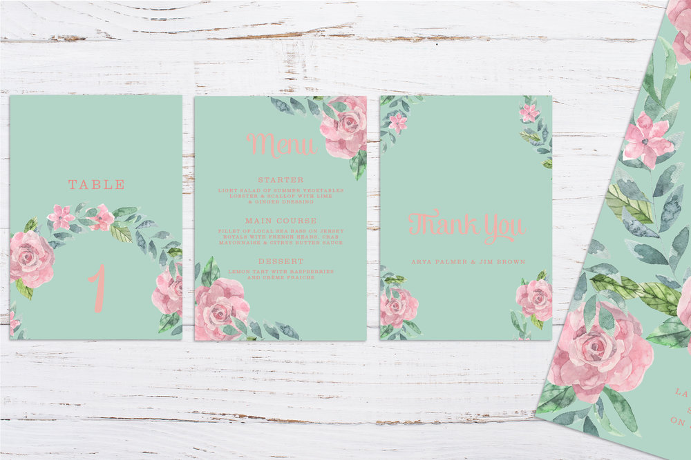 Digital printed floral wedding stationery