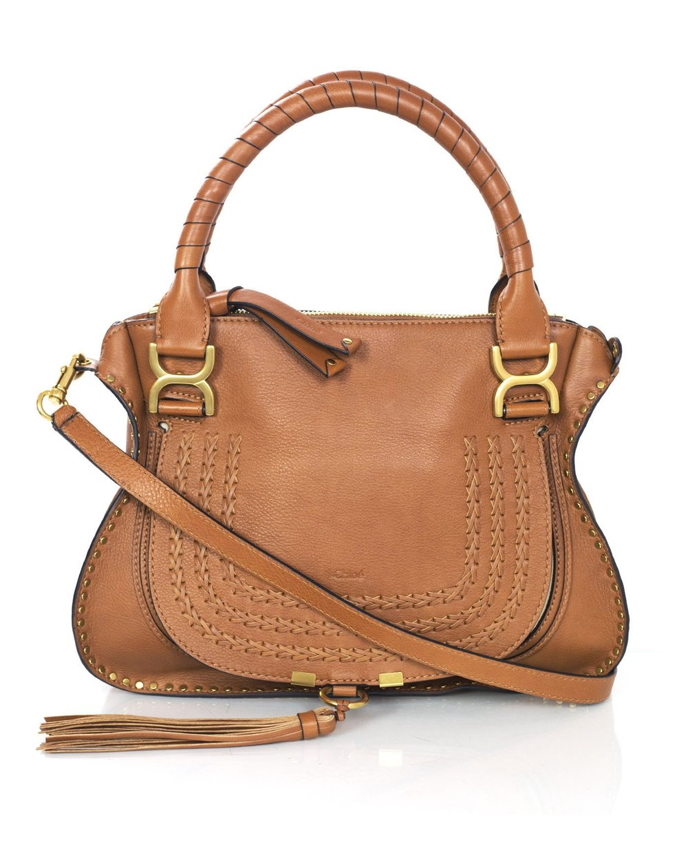 CHLOE tan leather marcie bag w strap 100-9892 1.jpg