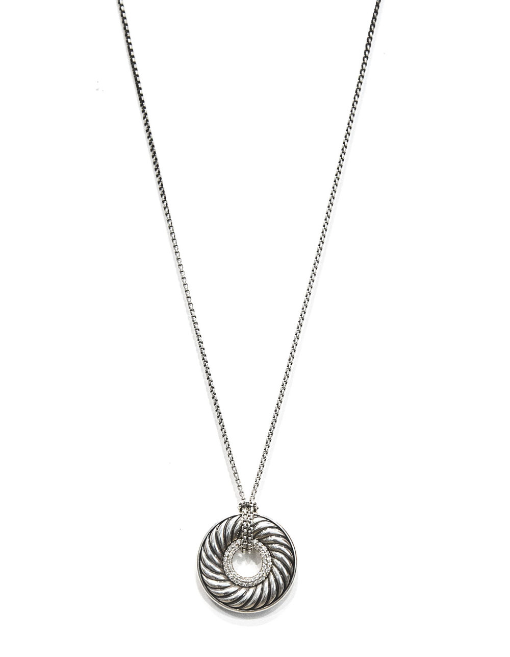 D YURMAN sterling and diamond carved cable circle pendant necklace 7225-103 1.jpg