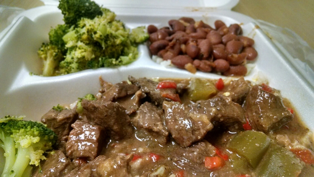 Beef tips, red beans and rice, and broccoli from Frankie's Cafeteria downtown Little Rock, AR Regions building.