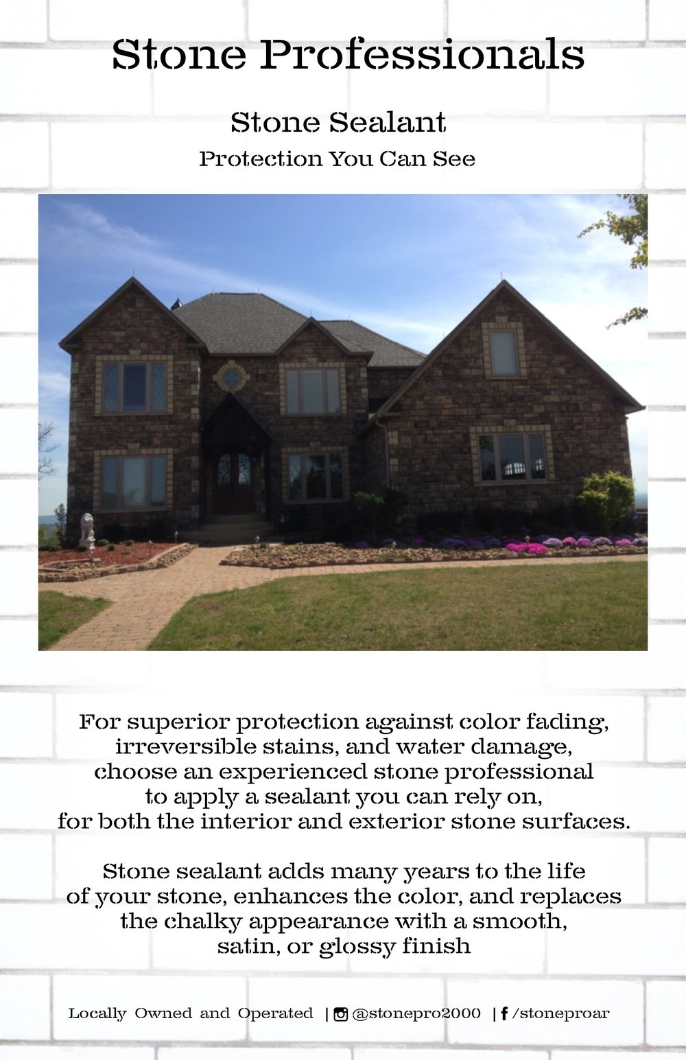 Brochure for local stone finishing company.