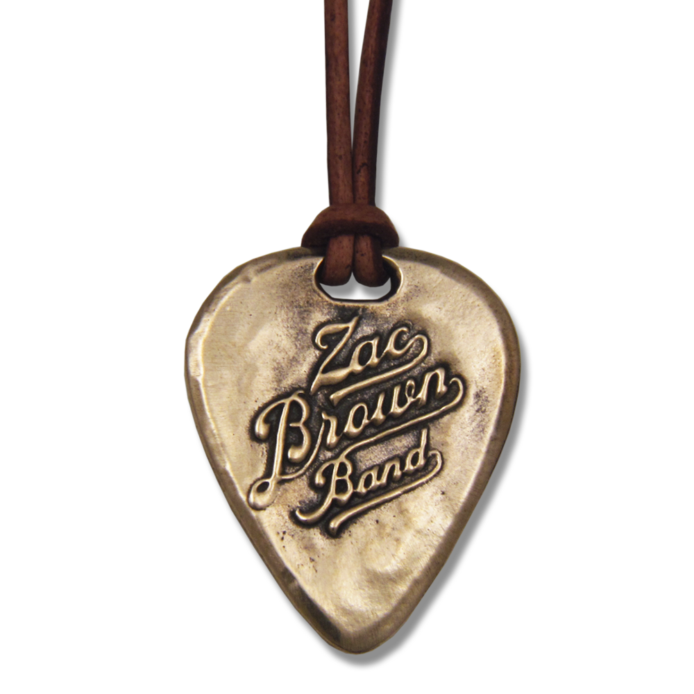 Zac Brown Band- Guitar Pick Pendant- Bronze- By Pennyroyal Jewelry