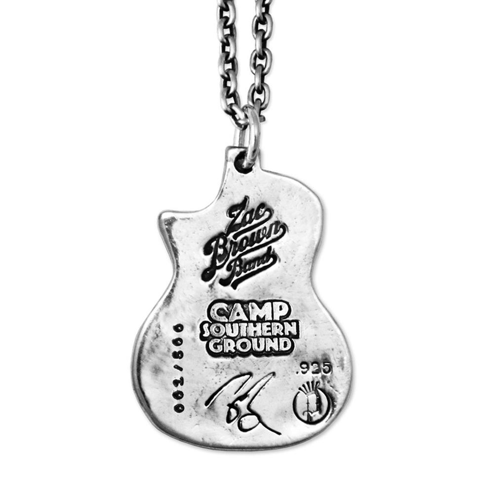 Zac Brown Band Guitar Necklace- Sterling Silver- By Pennyroyal Jewelry