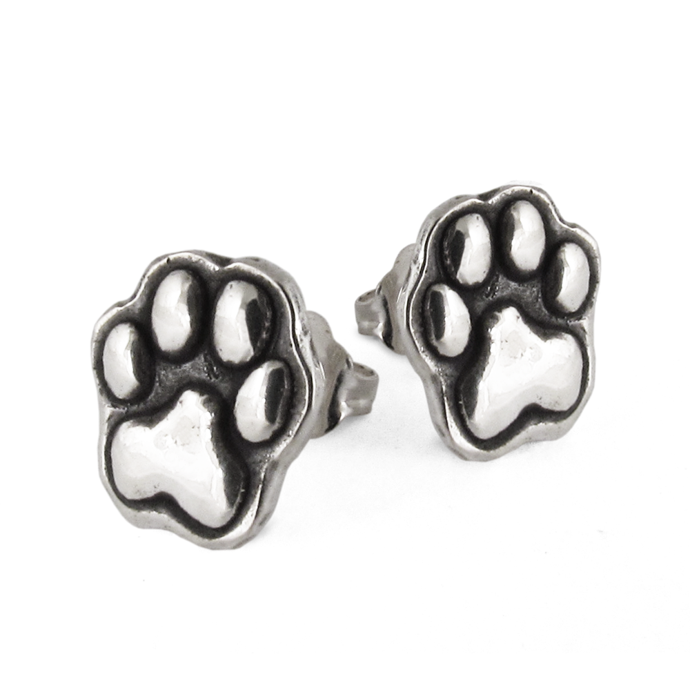Cesar Millan- Paw Print Earrings- Sterling Silver- by Pennyroyal Jewelry