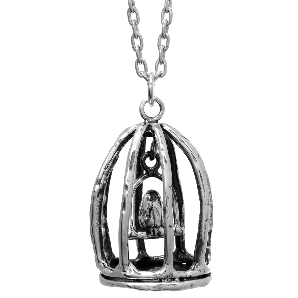 Bird Cage Pendant- Miniature Sterling Silver Sculpture- by Pennyroyal Jewelry