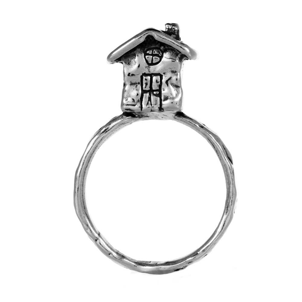 House Ring- Miniature Sterling Silver Sculpture- by Pennyroyal Jewelry