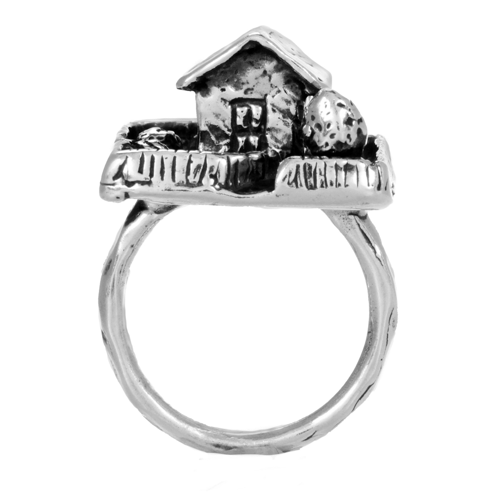 House & Yard Ring- Miniature Sterling Silver Sculpture- by Pennyroyal Jewelry