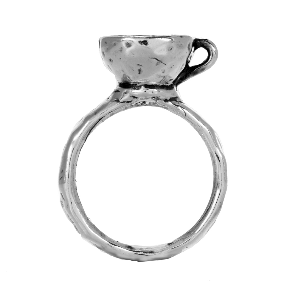 Tea Cup Ring- Miniature Sterling Silver Sculpture- by Pennyroyal Jewelry