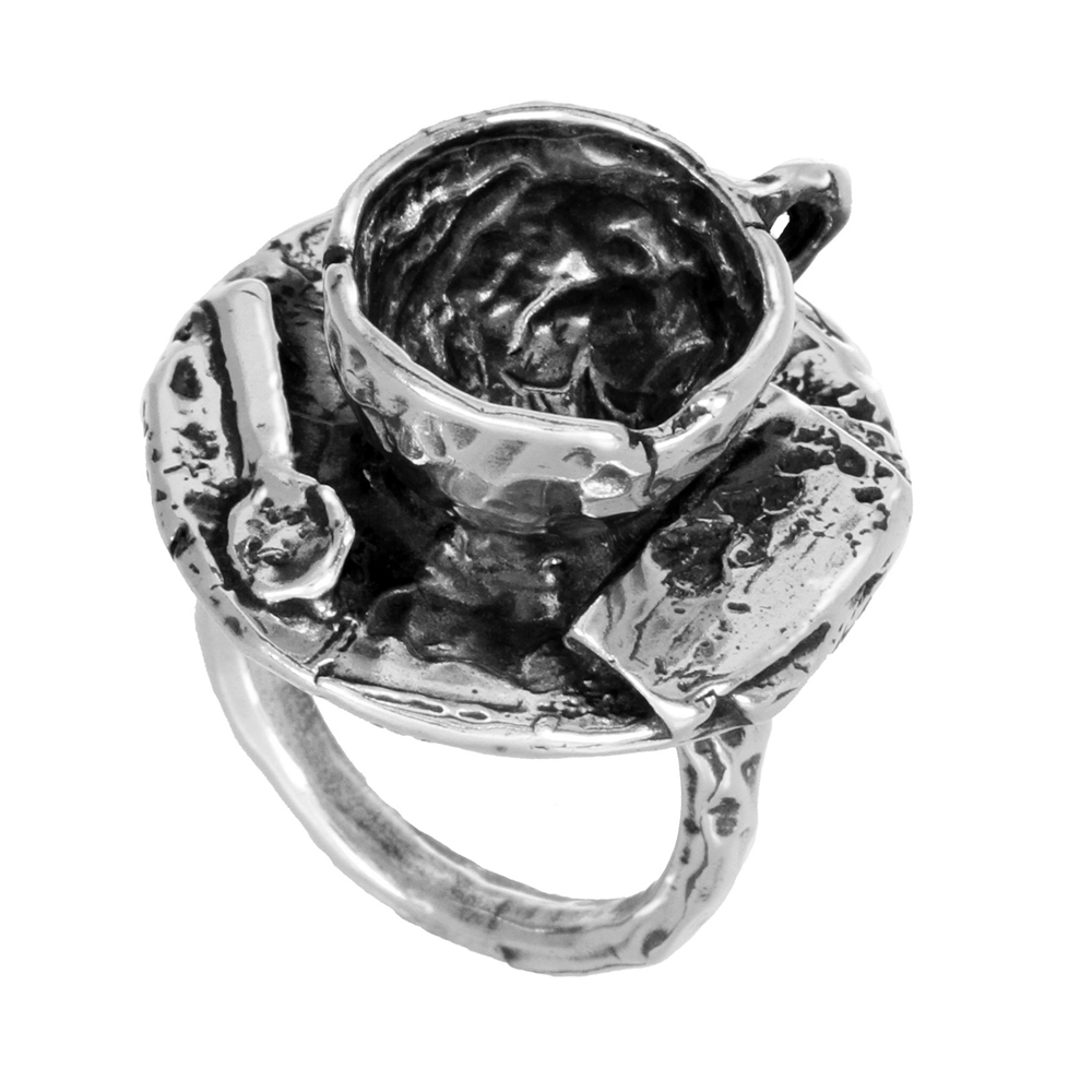 Teacup Vignette Ring- Miniature Sterling Silver Sculpture- by Pennyroyal Jewelry