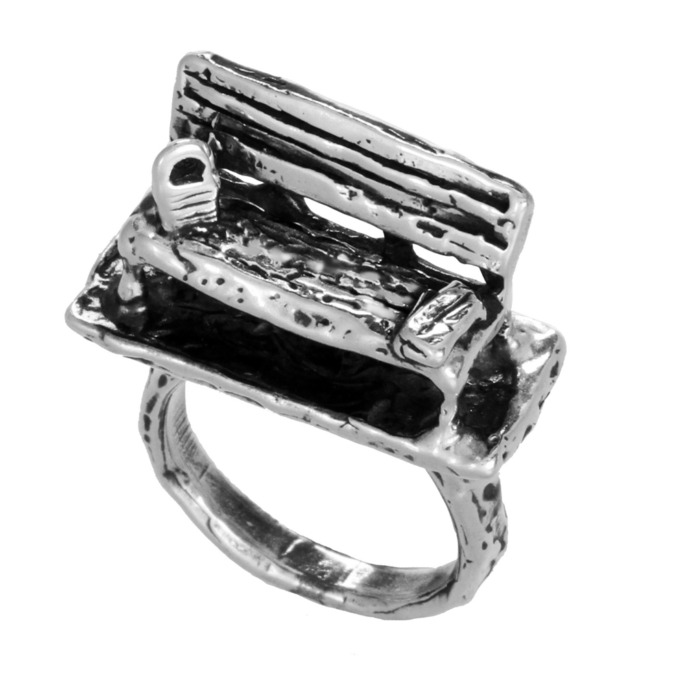 Park Bench Ring- Miniature Sterling Silver Sculpture- by Pennyroyal Jewelry