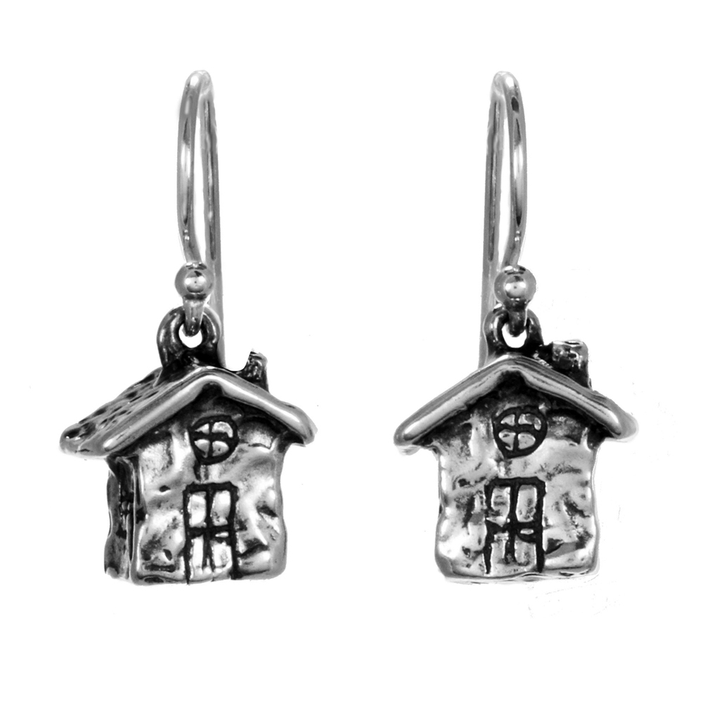 House Earrings- Miniature Sterling Silver Sculpture- by Pennyroyal Jewelry