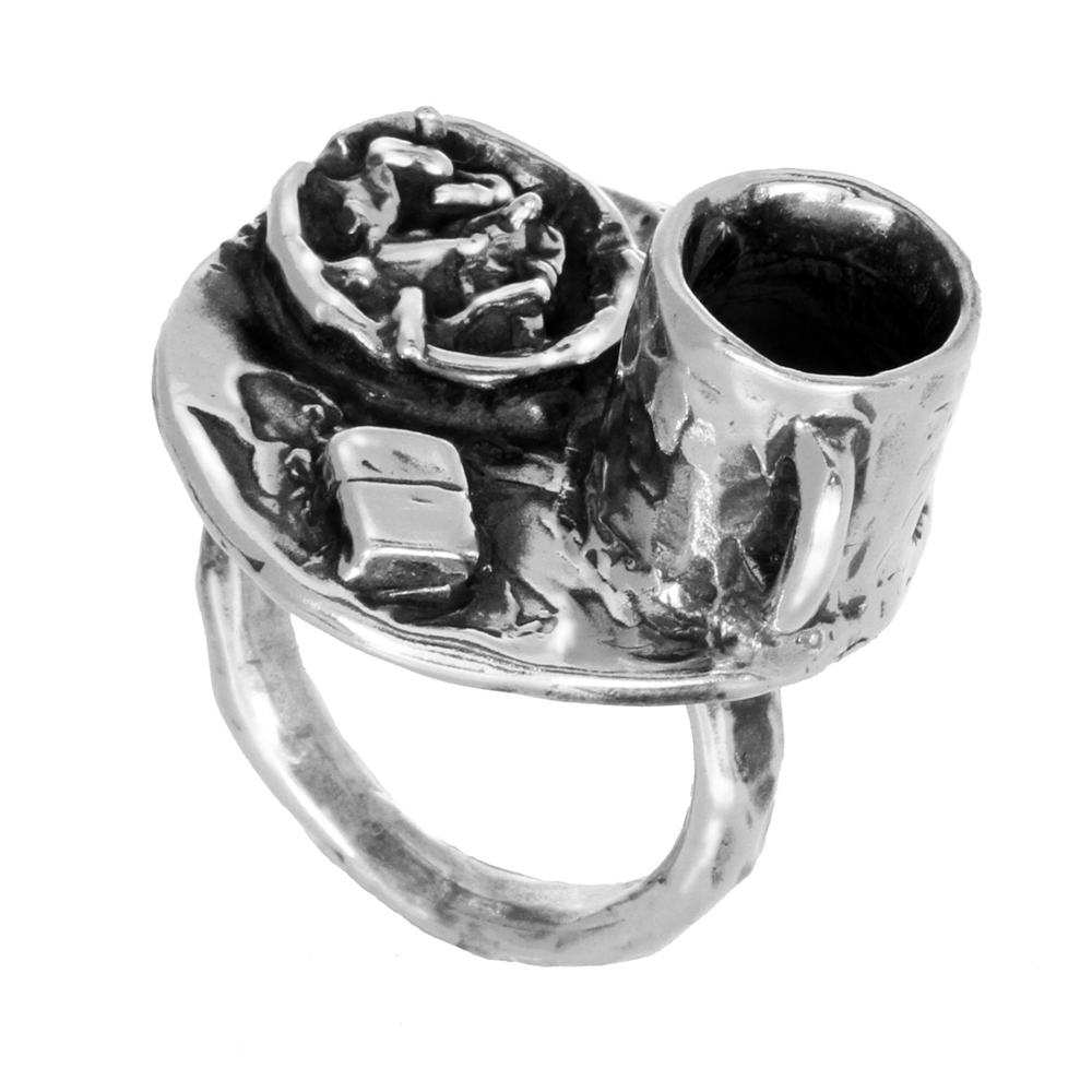 Coffee & Cigarettes Ring- Miniature Sterling Silver Sculpture- by Pennyroyal Jewelry