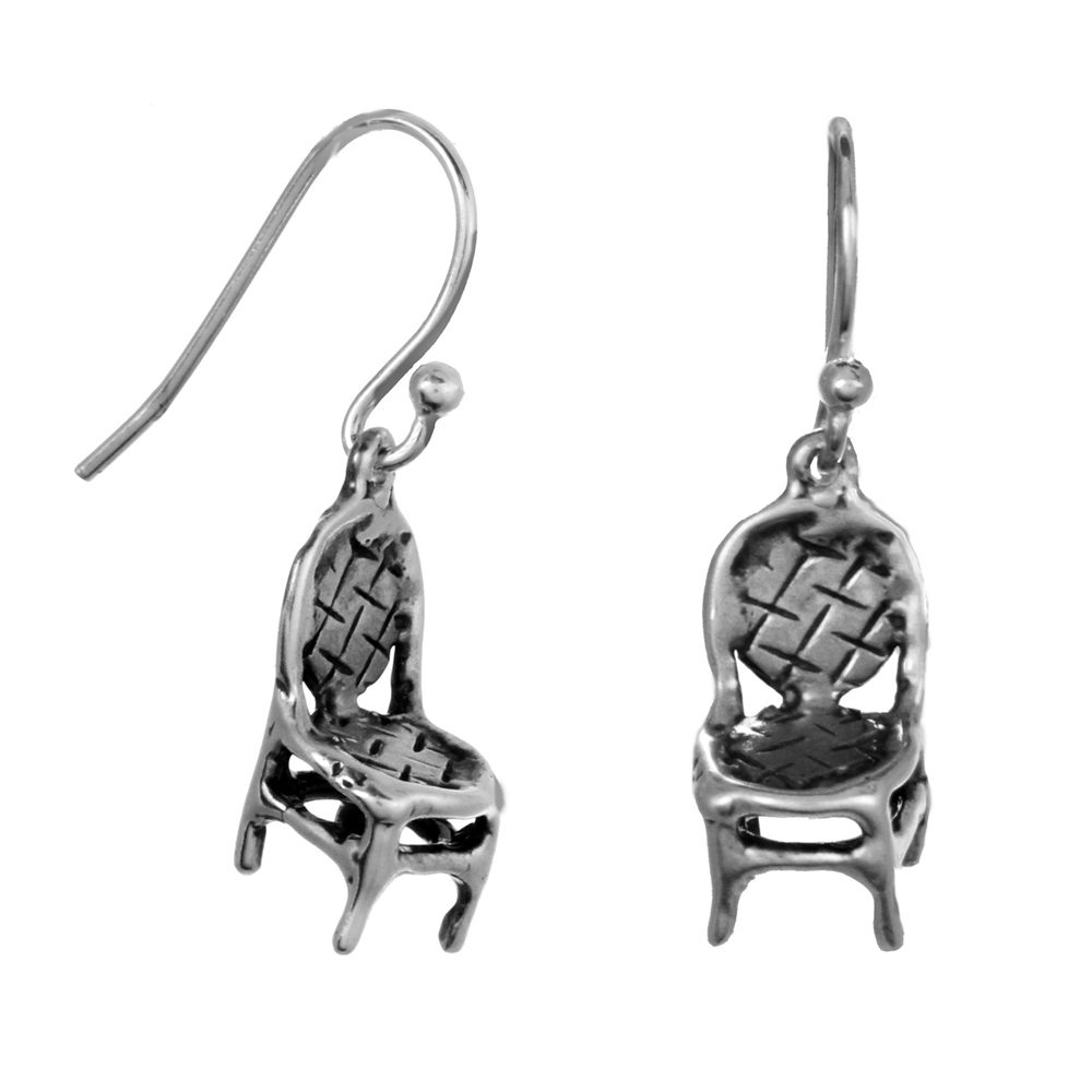 Cafe Chair Earrings- Miniature Sterling Silver Sculpture- by Pennyroyal Jewelry
