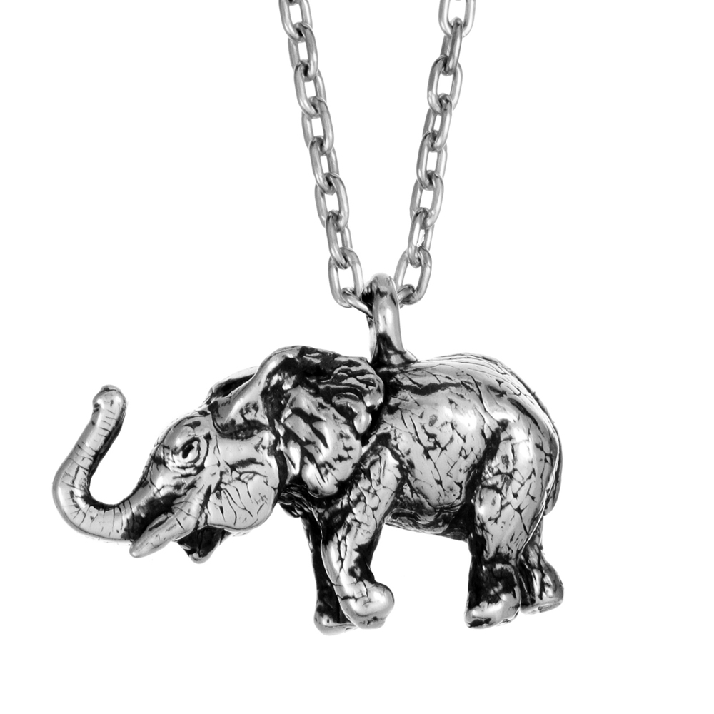 Elephant Pendant- Miniature Sterling Silver Sculpture- by Pennyroyal Jewelry