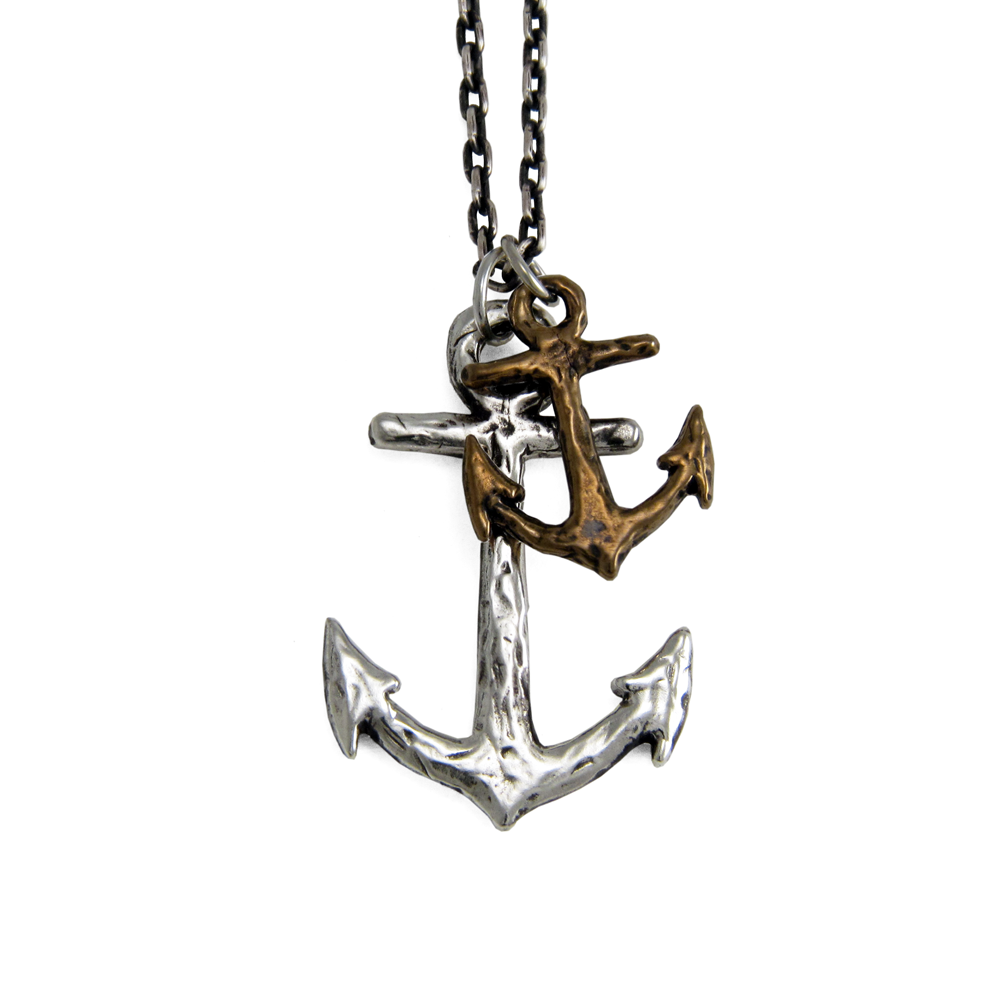 Mixed Metal Anchor Necklace- Sterling Silver & Bronze- by Pennyroyal Jewelry