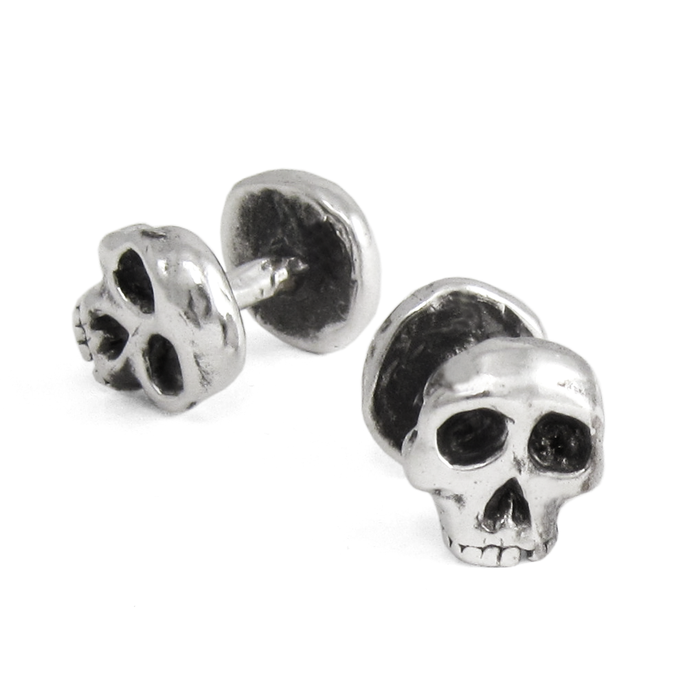 Skull Cuff Links- Sterling Silver- by Pennyroyal Jewelry