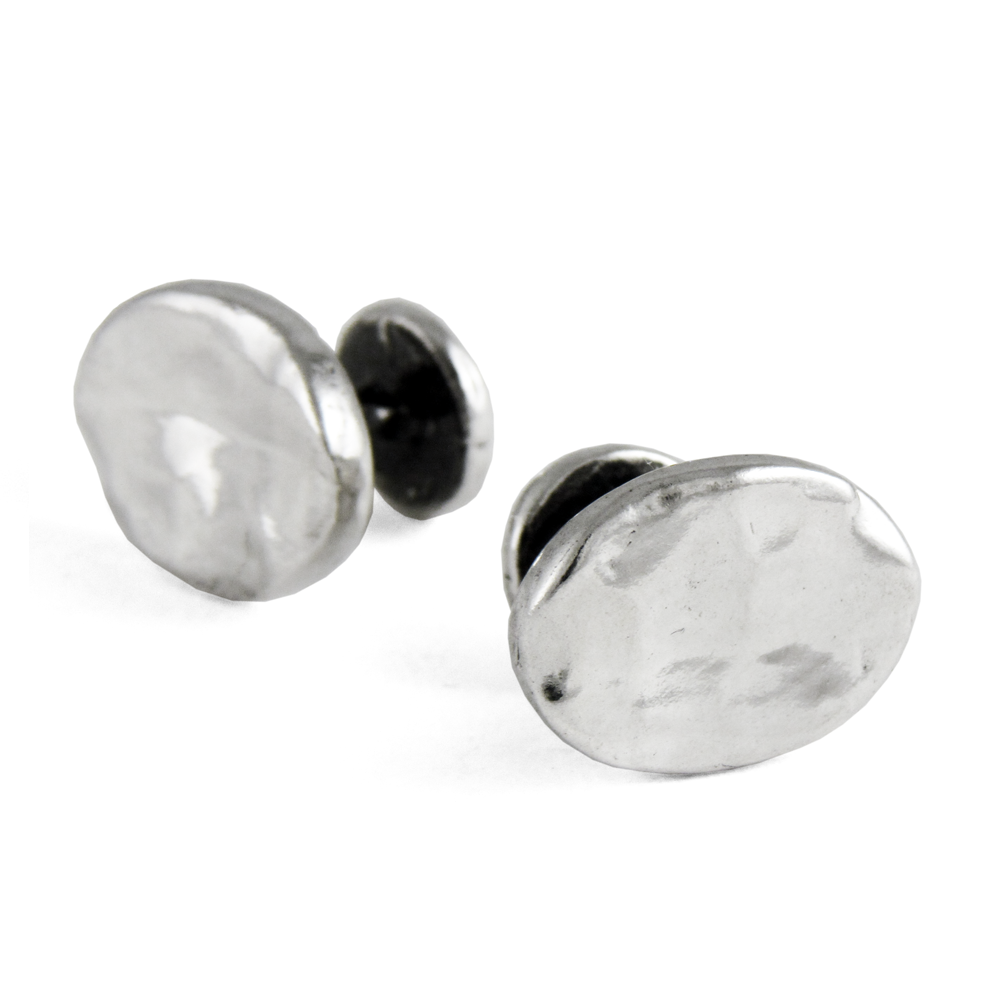 Simple Oval Cuff Links- Sterling Silver- by Pennyroyal Jewelry