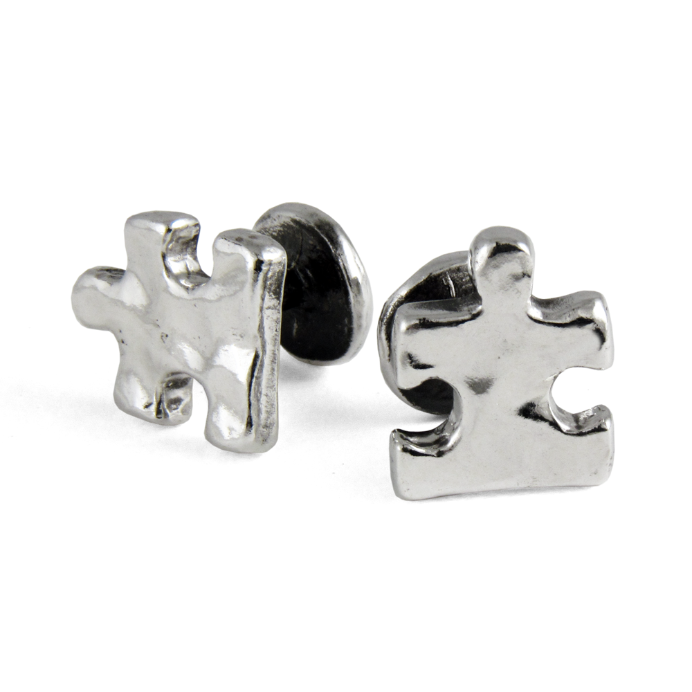 Puzzle Cuff Links- Sterling Silver- by Pennyroyal Jewelry