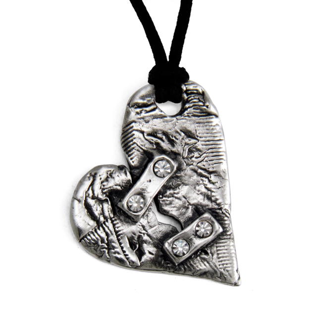 Broken Heart Pendant- Sterling Silver- by Pennyroyal Jewelry