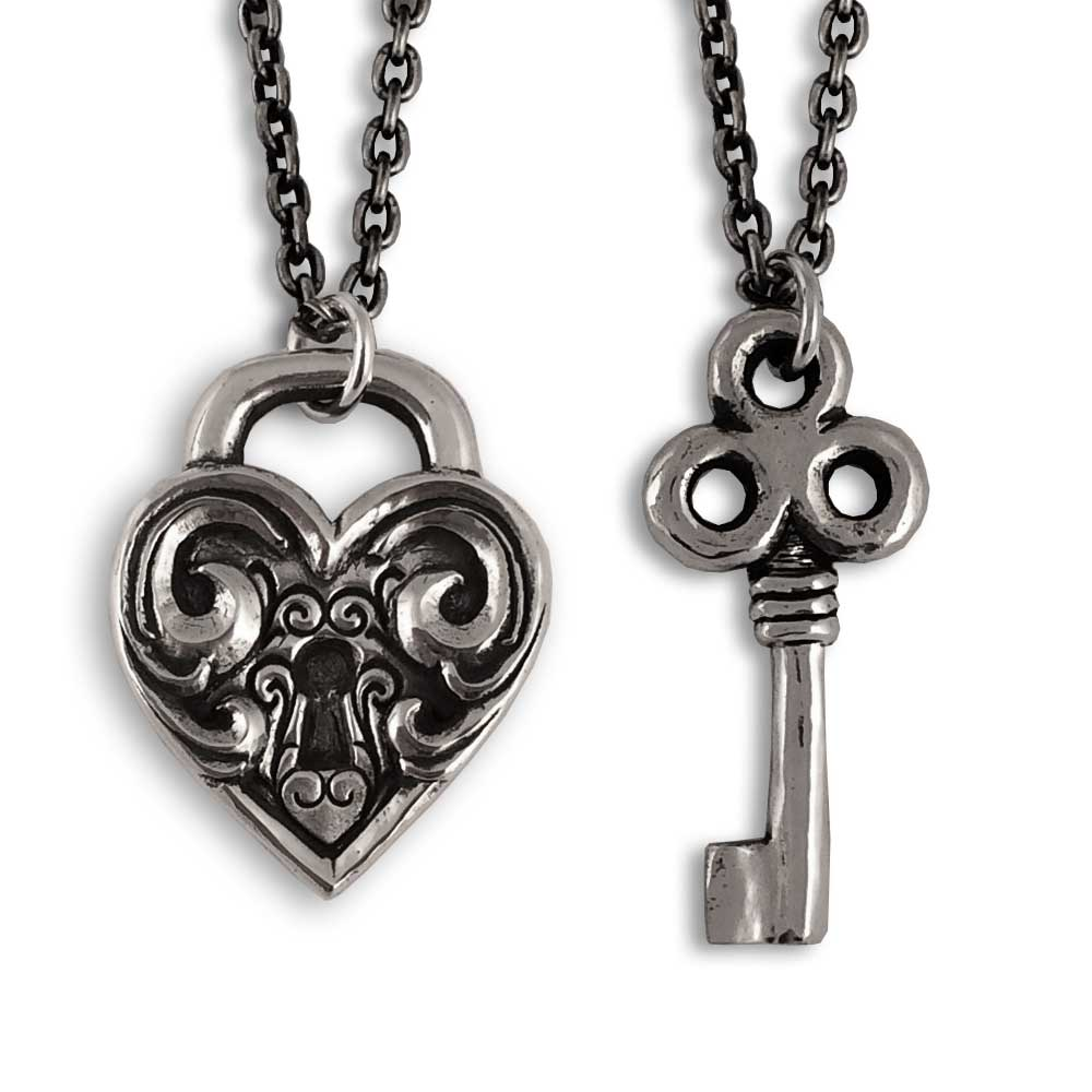 Heart Lock & Key Pendants- Sterling Silver- by Pennyroyal Jewelry