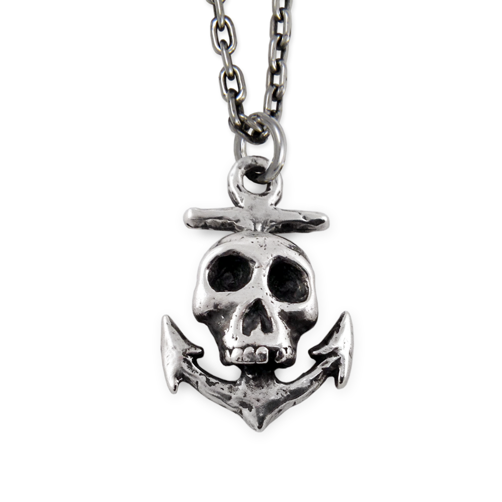 Skull/Anchor Pendant- Sterling Silver- by Pennyroyal Jewelry
