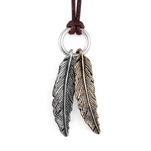 Mixed Metal Feather Necklace- Sterling Silver & Bronze- by Pennyroyal Jewelry