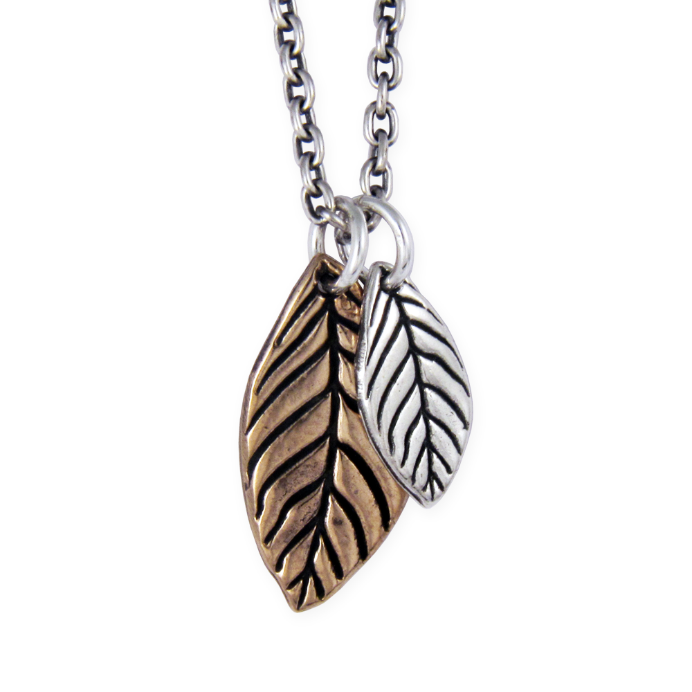 Mixed Metal Leaf Necklace- Sterling Silver & Bronze- by Pennyroyal Jewelry
