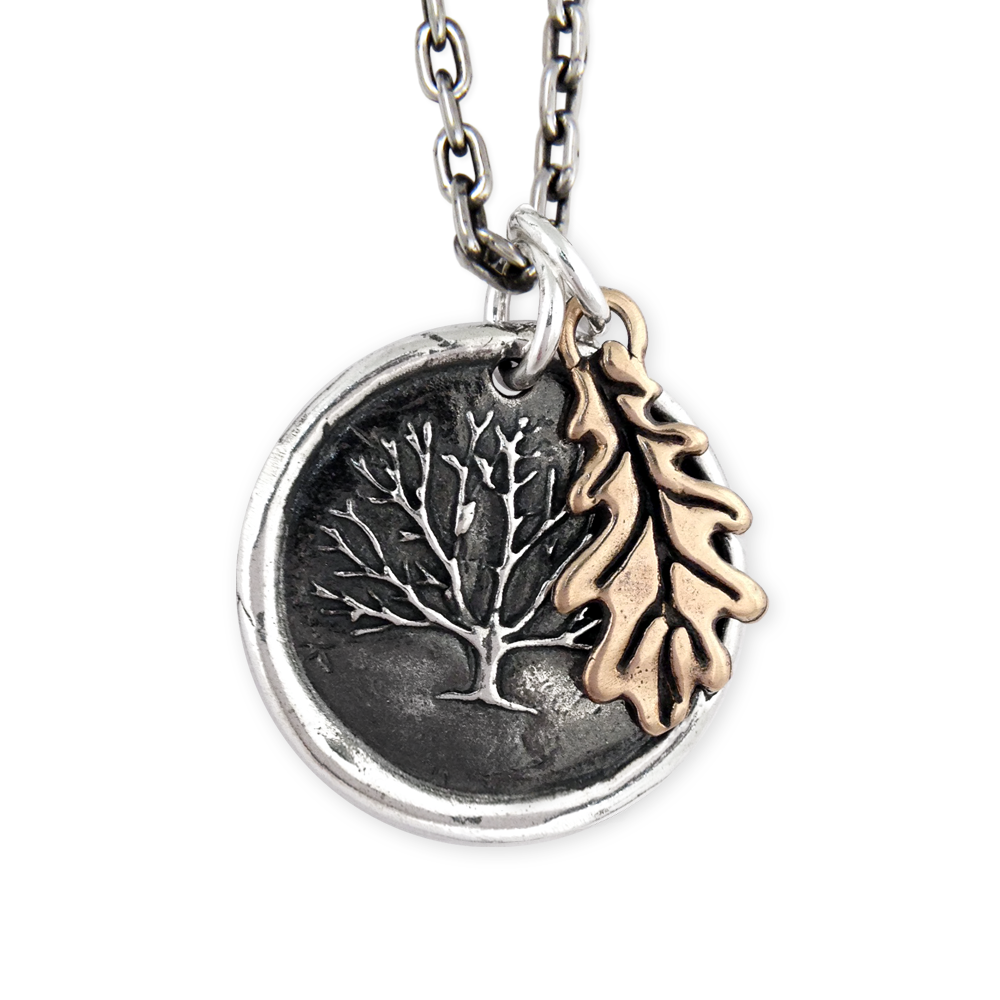 Mixed Metal Oak Tree Necklace- Sterling Silver & Bronze- by Pennyroyal Jewelry