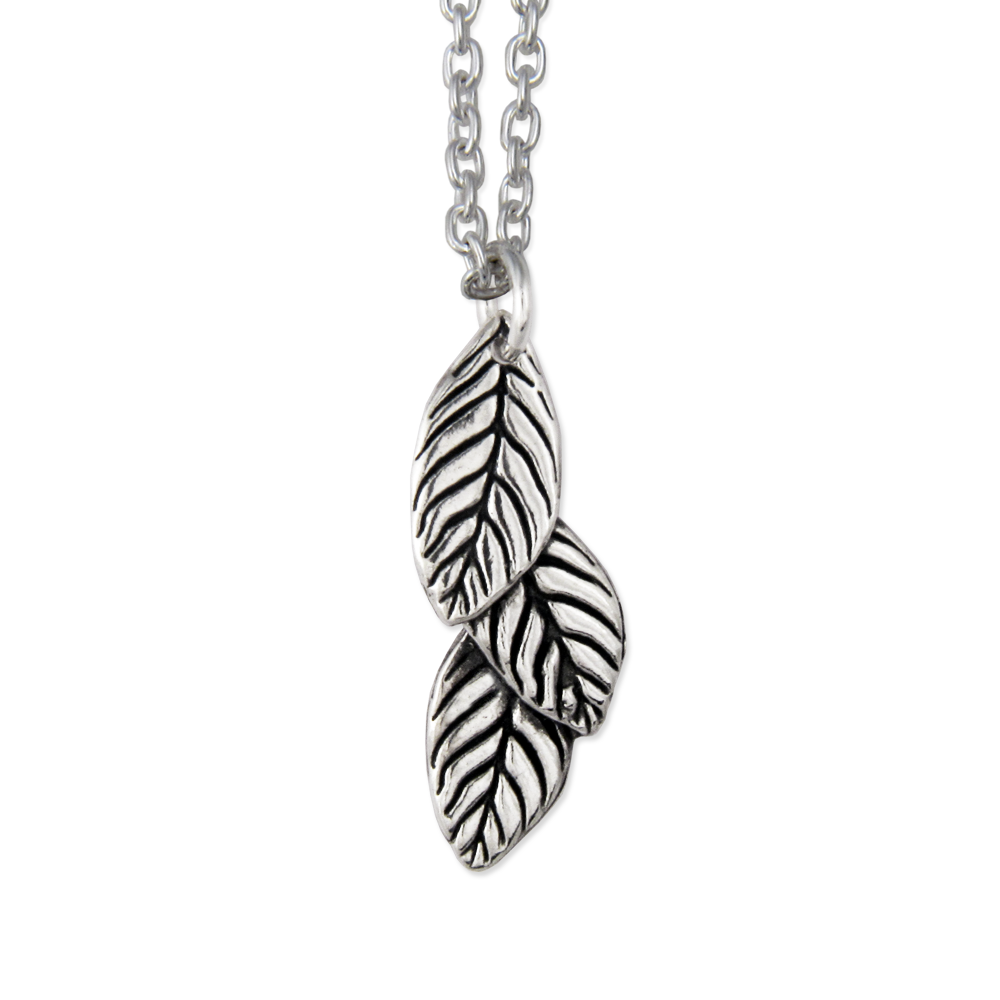 Three Leaf Necklace- Sterling Silver- by Pennyroyal Jewelry