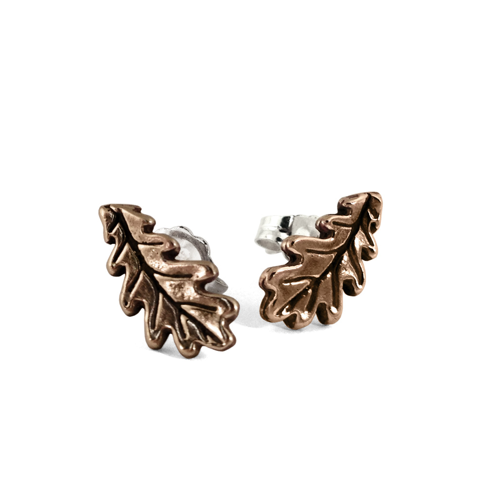 Oak Leaf Studs- Bronze- by Pennyroyal Jewelry