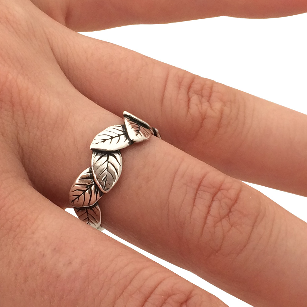 Layered Leaf Ring- Sterling Silver- by Pennyroyal Jewelry