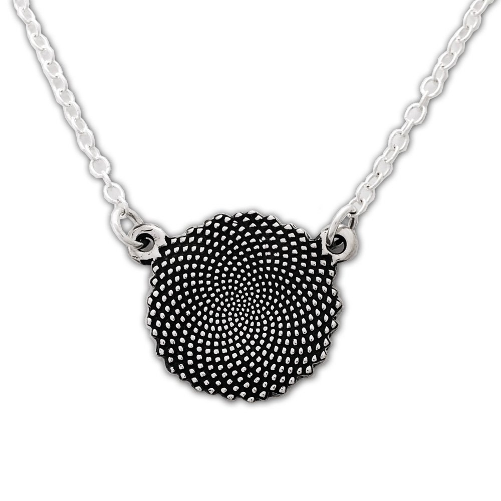 Small Round Fibonacci Necklace- Sterling Silver- by Pennyroyal Jewelry