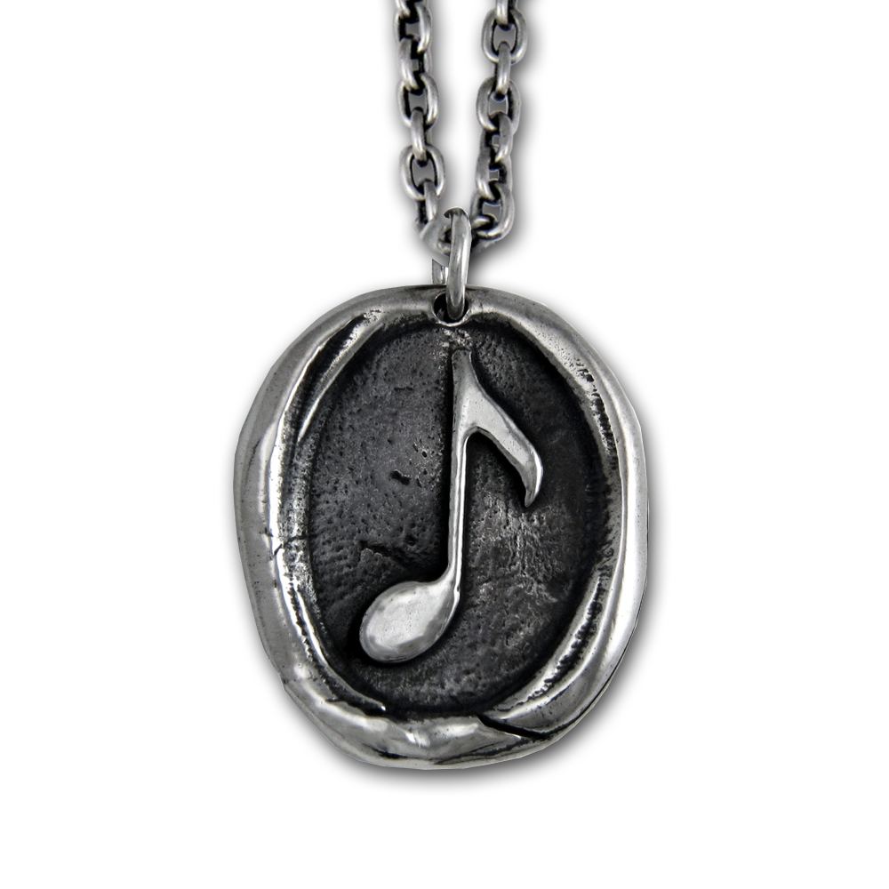 Music Note Pendant- Sterling Silver- by Pennyroyal Jewelry