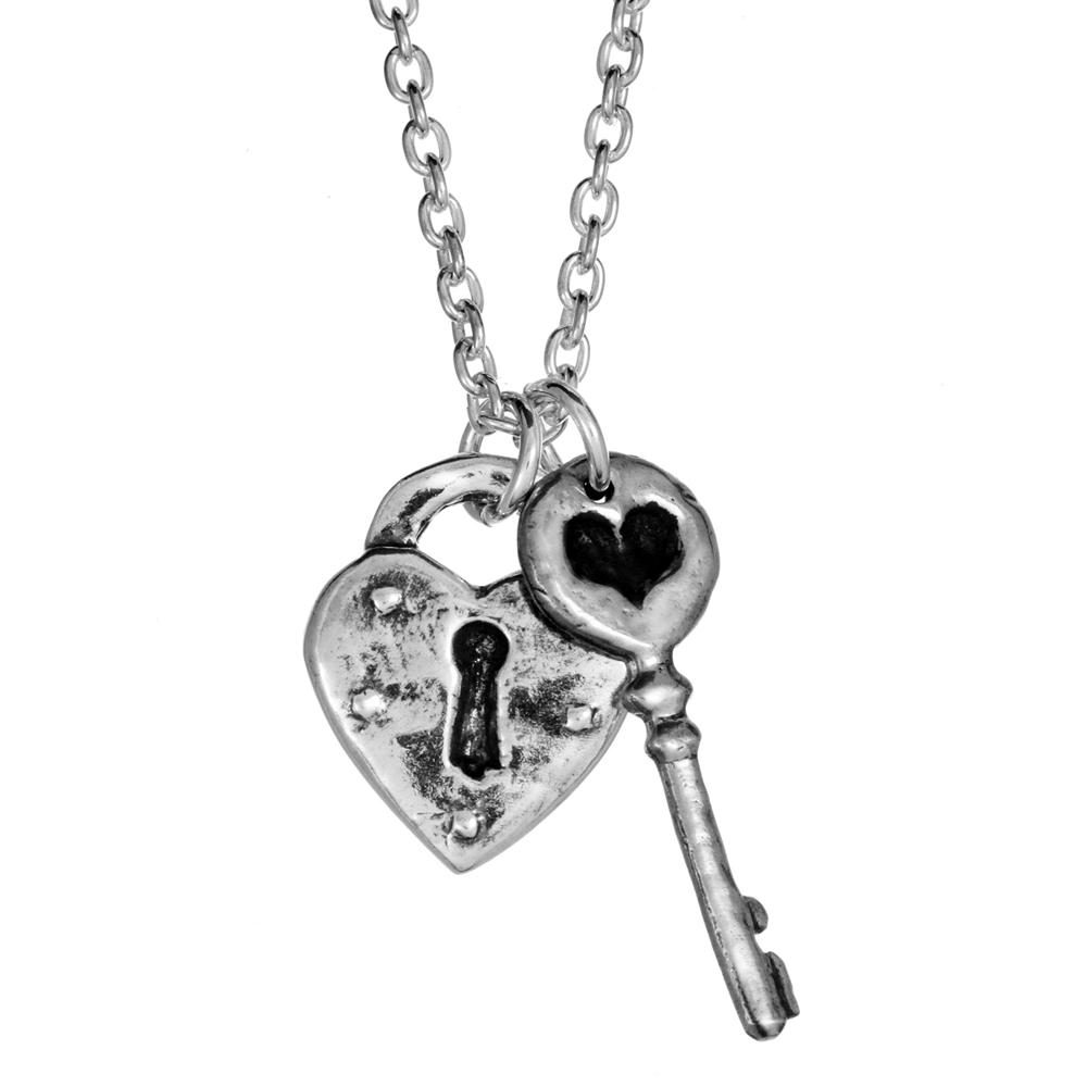 Heart Lock & Key Necklace- Sterling Silver- by Pennyroyal Jewelry